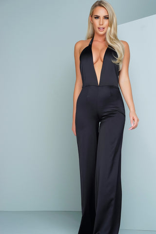 Kayla Satin Jumpsuit - Black - WantMyLook