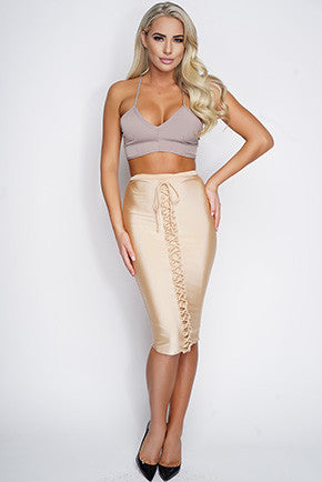 Alya Lace Up Mesh Skirt - Nude - WantMyLook