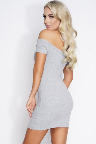 Kya Off The Shoulder Knit Mini Dress - Heather Grey - WantMyLook
