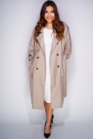 Eliza Trench Coat - Khaki - WantMyLook