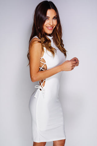 Shea Lace-Up Dress - White