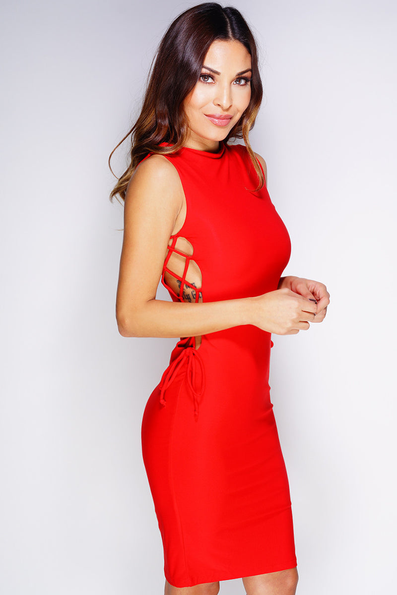 Shea Lace-Up Dress - Red - WantMyLook