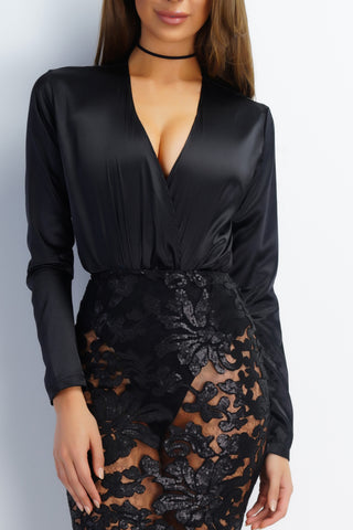 Zion Blouse Bodysuit - Black - WantMyLook