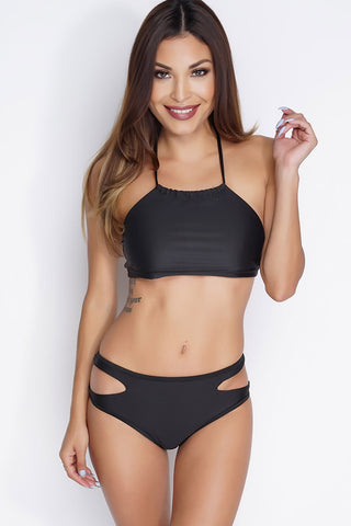 Fran Halter Cut Out Bikini - Black - WantMyLook
