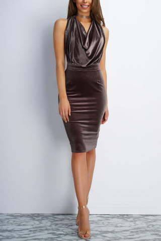 Girl Crush Velvet Draped Dress - Taupe