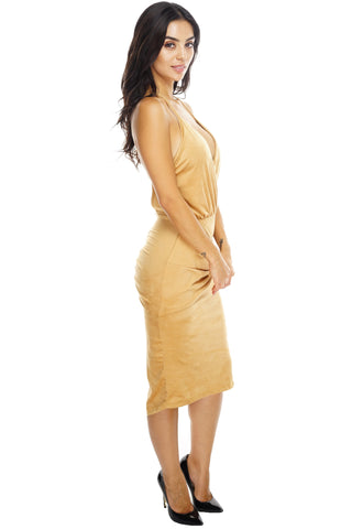 Tessa Suede Knot Dress  - Camel - WantMyLook