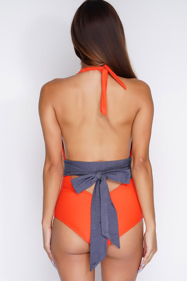 Khloe Belted One Piece - Red - WantMyLook