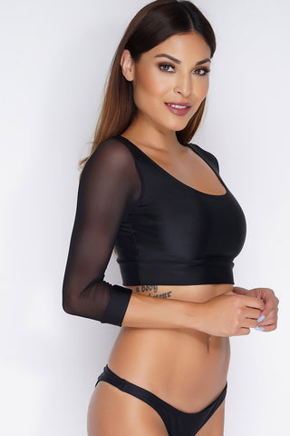 Rebellious Mesh Swim Top - Black