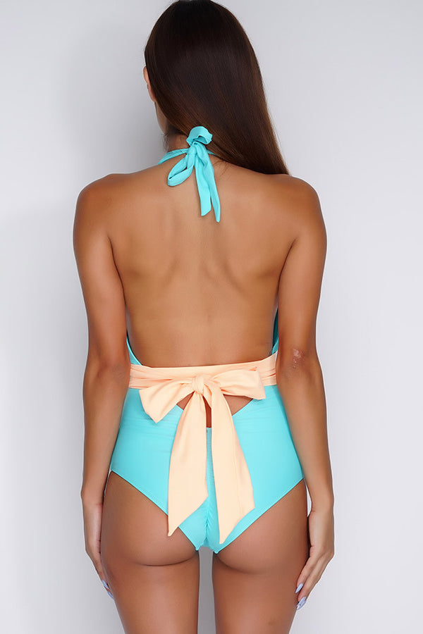 Khloe Belted One Piece - Aqua - WantMyLook