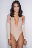 Crystal Mesh Bodysuit - Tan
