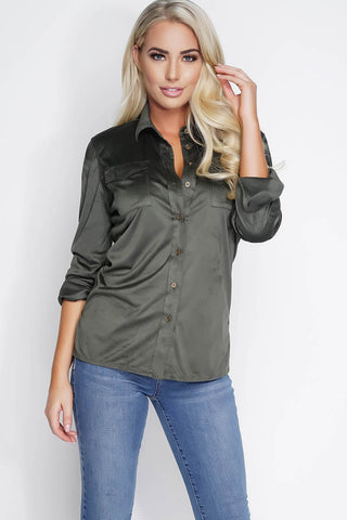 Vivica Suede Blouse - Olive - WantMyLook