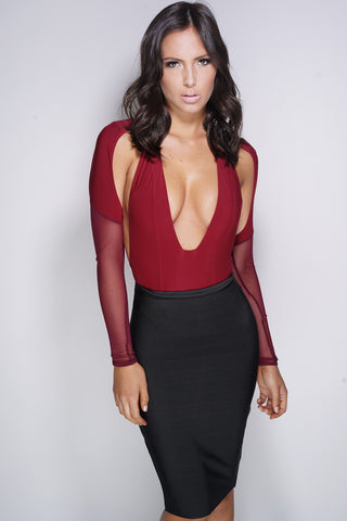 Crystal Mesh Bodysuit - Burgundy