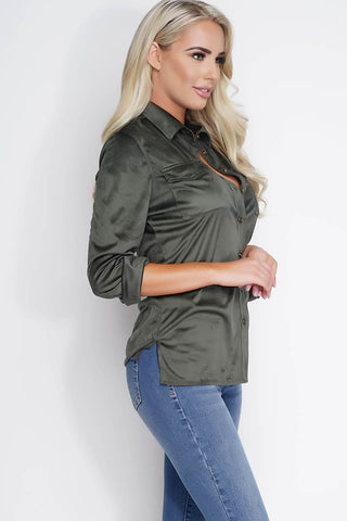 Vivica Suede Blouse - Olive