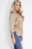 Vivica Suede Blouse - Tan - WantMyLook