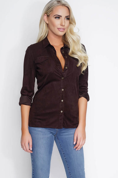 Vivica Suede Blouse - Chocolate