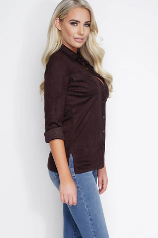 Vivica Suede Blouse - Chocolate - WantMyLook