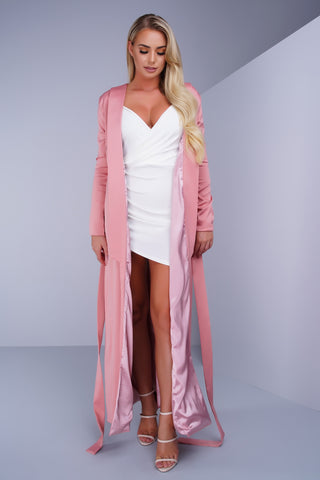 Darian Satin Maxi Coat - Blush