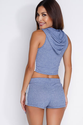 Rhoda Cropped Sweat Set - Heather Blue