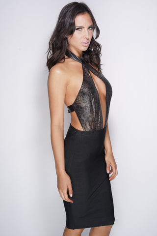 Aluna Leather Bodysuit - Snake Skin - WantMyLook
