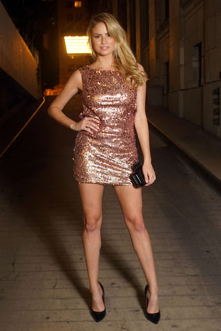 Stella Sequin Dress - Champagne - WantMyLook