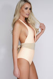 Khloe Belted One Piece - Orange/Nude - WantMyLook