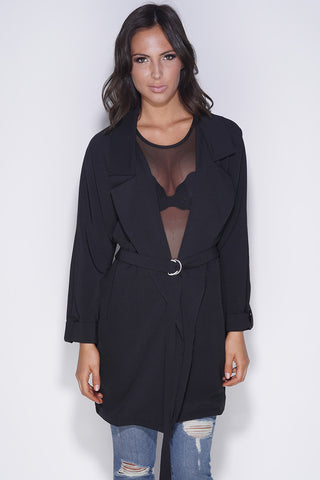Carolyn Trench Coat - Black - WantMyLook