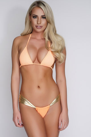 Charla Shimmer Swim Bottoms - Orange/Gold - WantMyLook