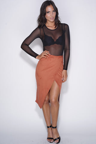 Lia Midi Skirt - Orange