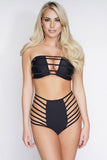 Irina Strapless Caged Swim Top - Black