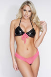 Katya Netted Swim Bottoms - Black/Pink - WantMyLook