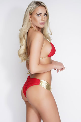 Charla Shimmer Swim Bottoms - Red/Gold - WantMyLook