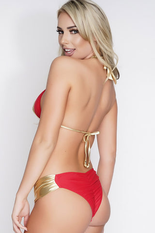 Charla Shimmer Swim Top - Red/Gold - WantMyLook
