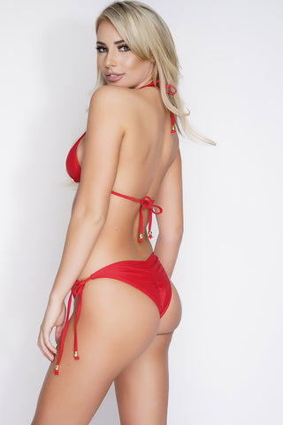 Simone Side Tie Swim Bottoms - Red - WantMyLook