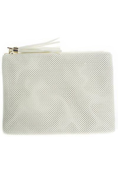 Elisa Perforated Clutch - White - WantMyLook