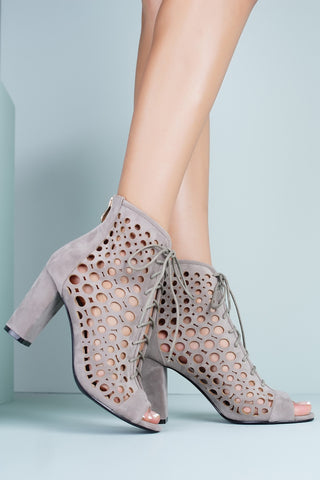 Queenie Laser Cut Heeled Booties - Grey