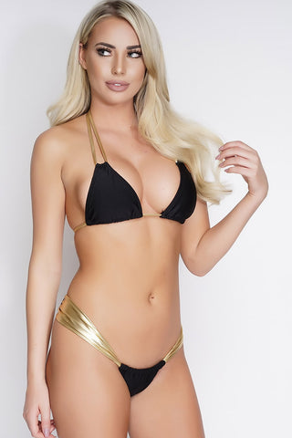 Charla Shimmer Swim Top - Black/Gold - WantMyLook