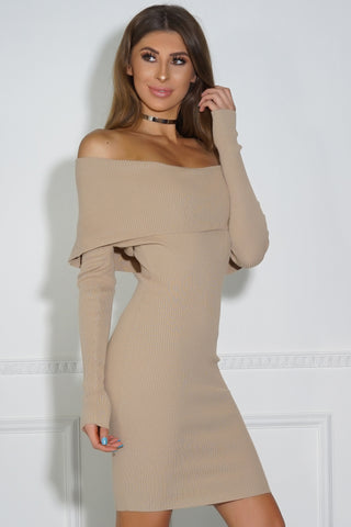 Tess Knit Mini Dress - Taupe