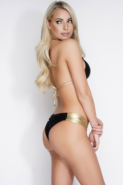 Charla Shimmer Swim Bottoms - Black/Gold - WantMyLook
