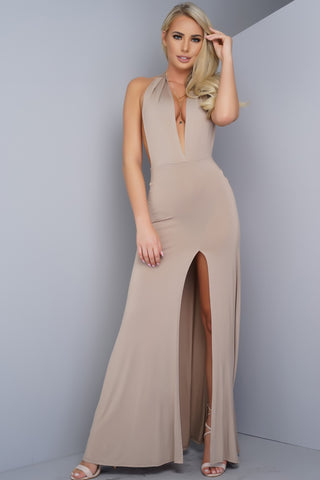 Dia Halter Maxi Dress - Taupe