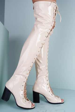 Abril Peep Toe Lace Up Heeled Boots - Nude