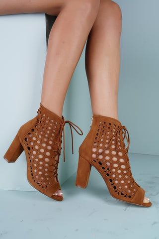 Queenie Laser Cut Heeled Booties - Camel