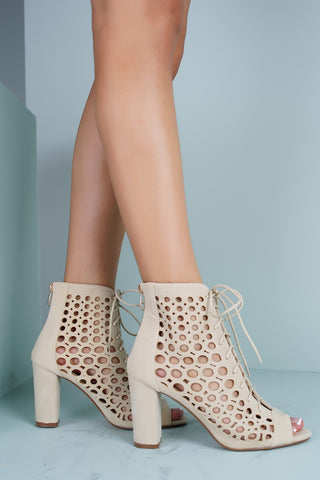 Queenie Laser Cut Heeled Booties - Beige