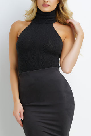 Miki Knit Bodysuit - Black - WantMyLook