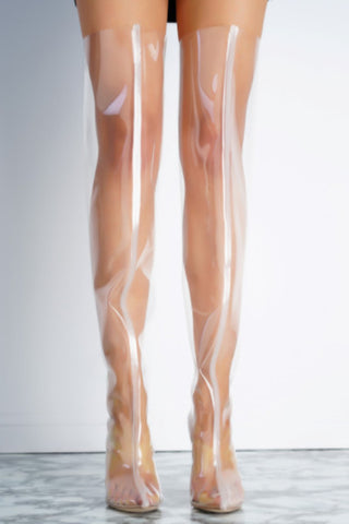 Lara Perspex Boots - Rose Gold - WantMyLook