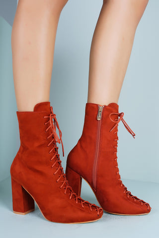 Sza Lace Ankle Booties - Rust