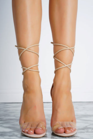 Drew Lace Up Heels - Nude