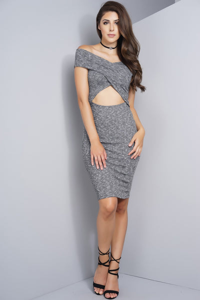 Maisy Off Shoulder Cut Out Knit Dress - Charcoal - WantMyLook