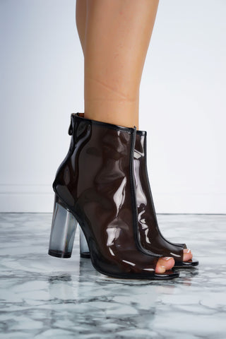 Benny Perspex Booties - Black - WantMyLook