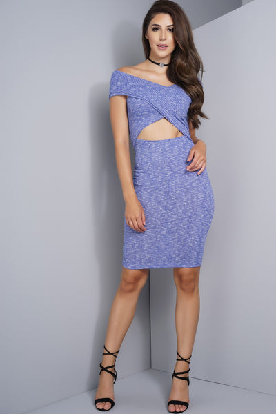 Maisy Off Shoulder Cut Out Knit Dress - Blue
