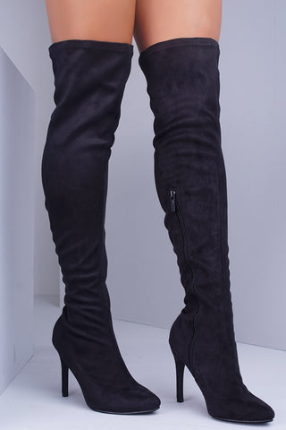Beverly Suede Over The Knee Boots - Black - WantMyLook